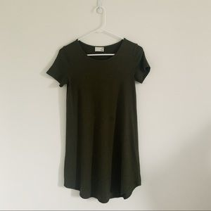 WILFRED FREE GREEN T-SHIRT DRESS (XS) SCOOP NECK